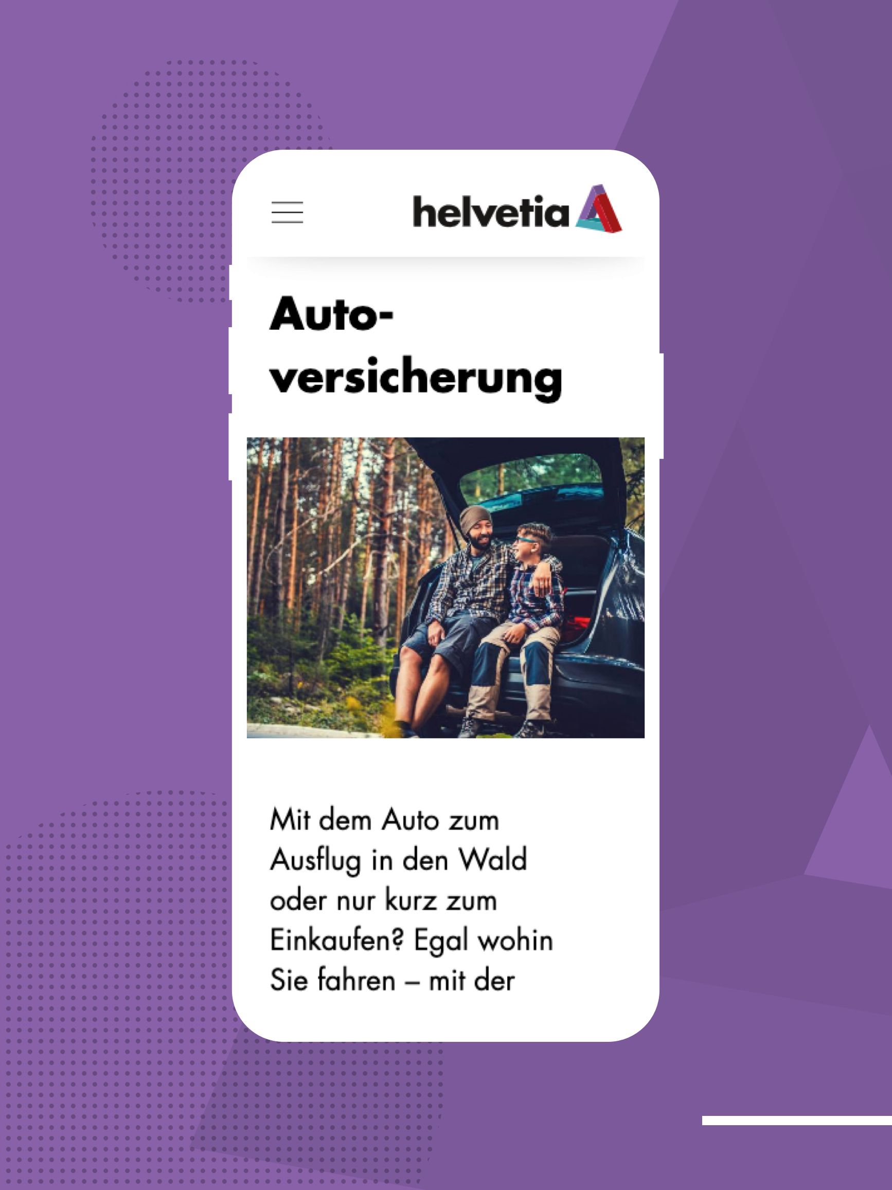 Helvetia Website Einblicke in die neue mobile Website