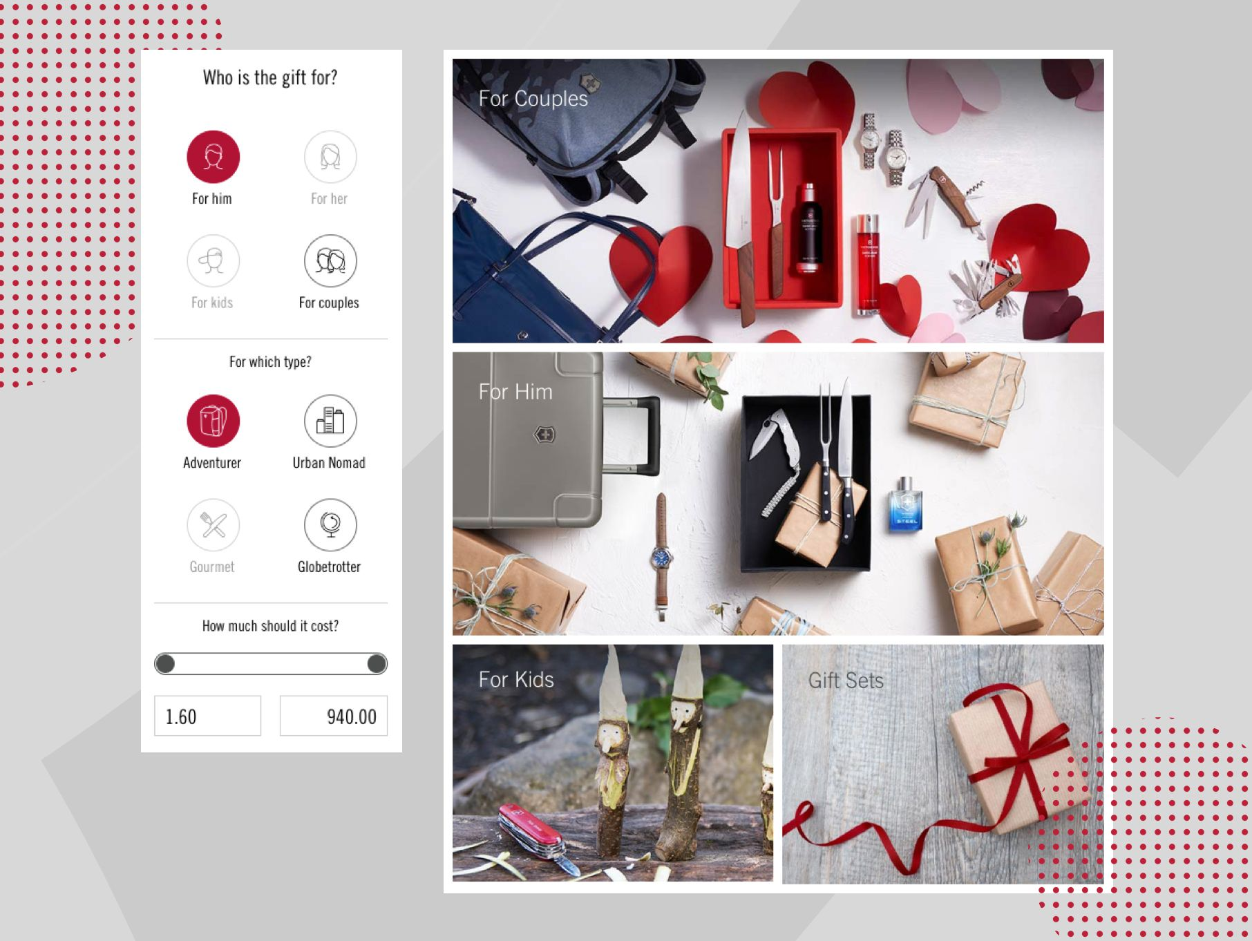 Victorinox Gift Finder auf der Website