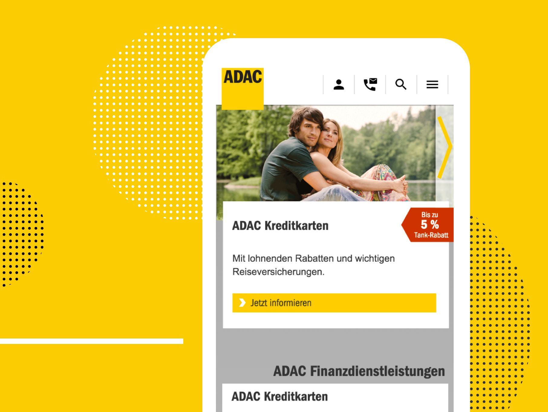 ADAC - Mobile Ansicht der Website
