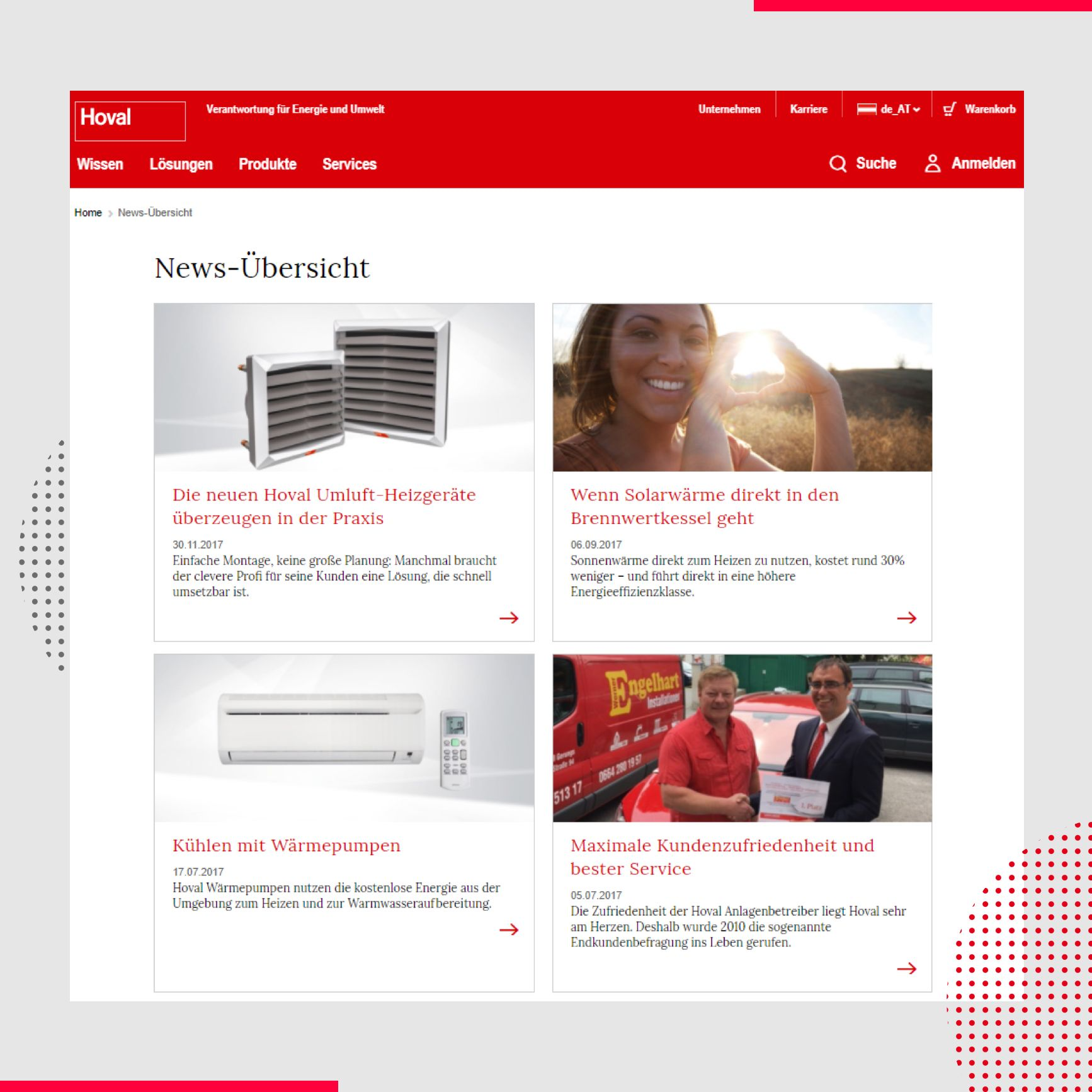 Hoval - Website Ansicht