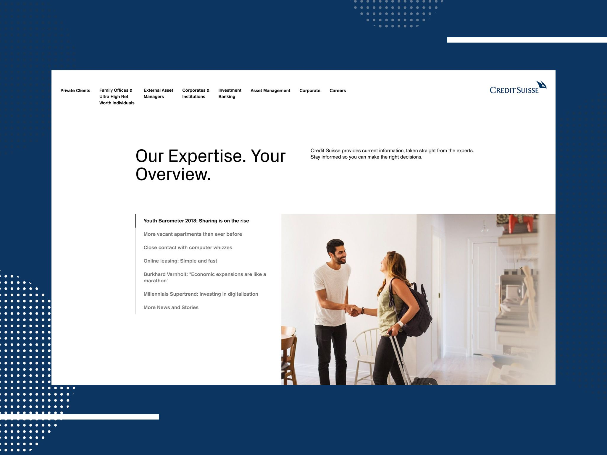 Credit Suisse - Ansicht Website: Our Expertise. Your Overview.