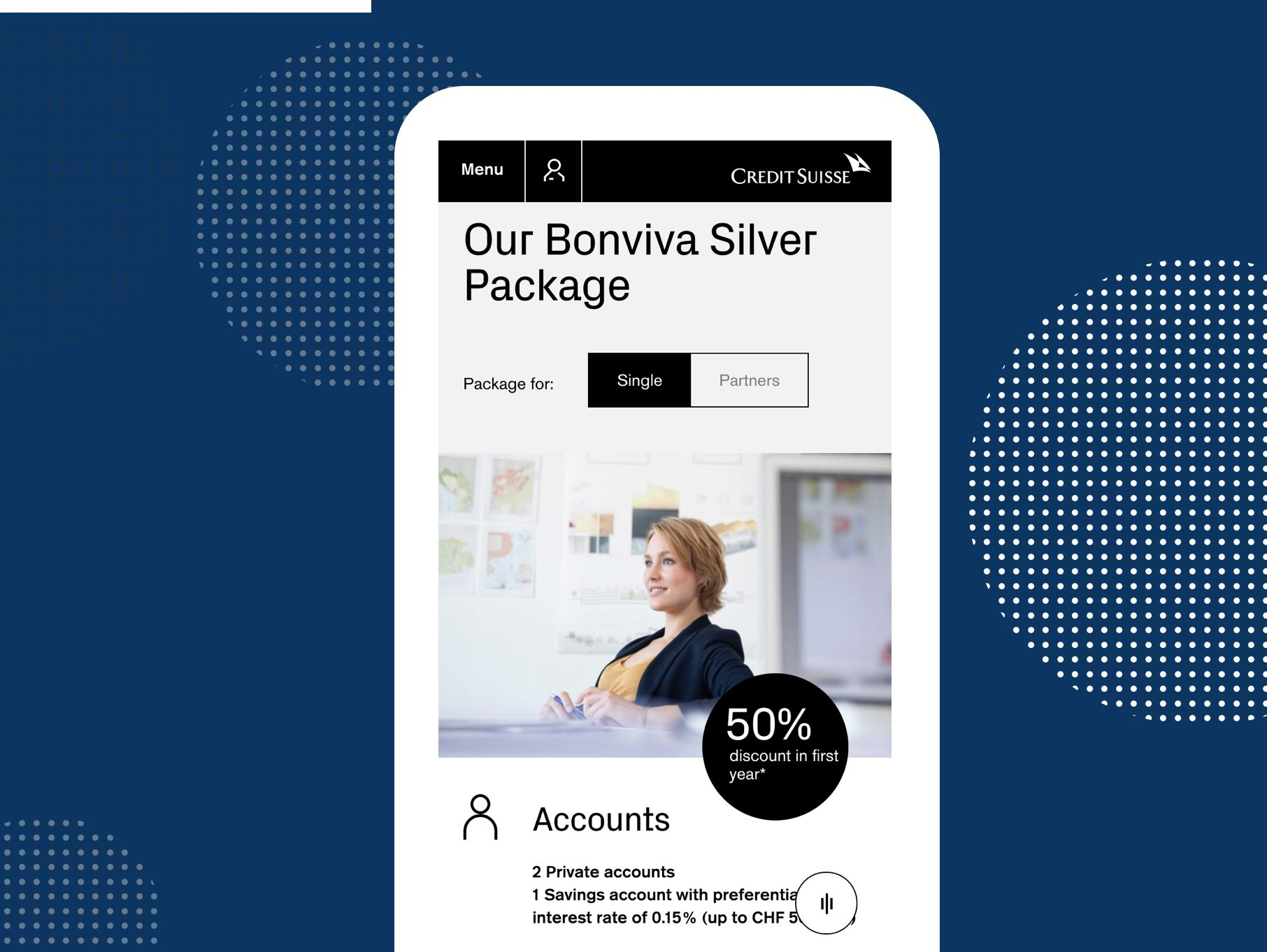 Credit Suisse - Mobile Ansicht: Our Bonviva Silver Package