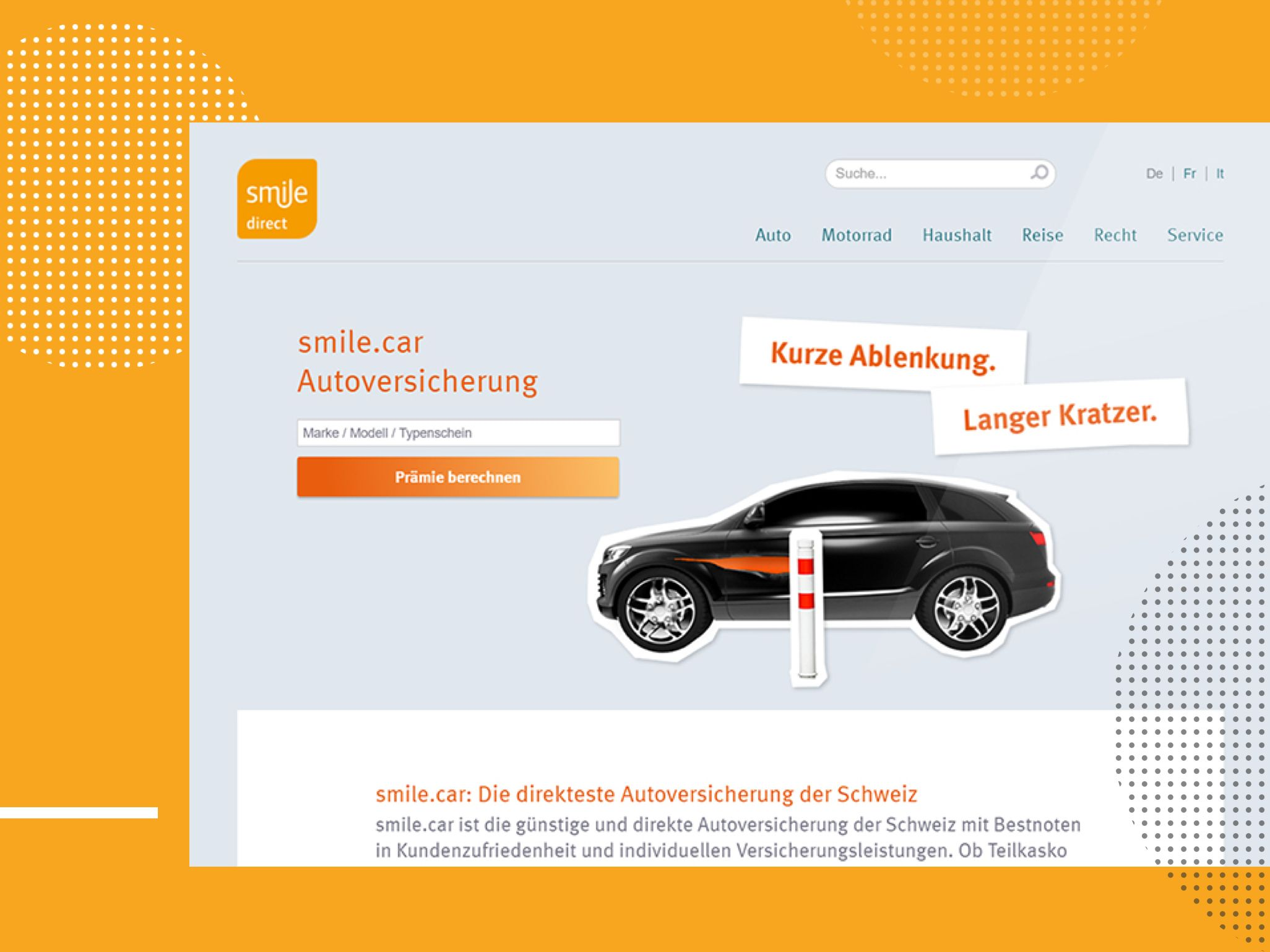 smile.direct - Ansicht Website: smile.car Autoversicherungen