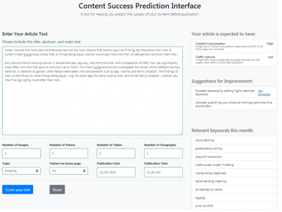 Content Success Prediction Interface bei der Credit Suisse