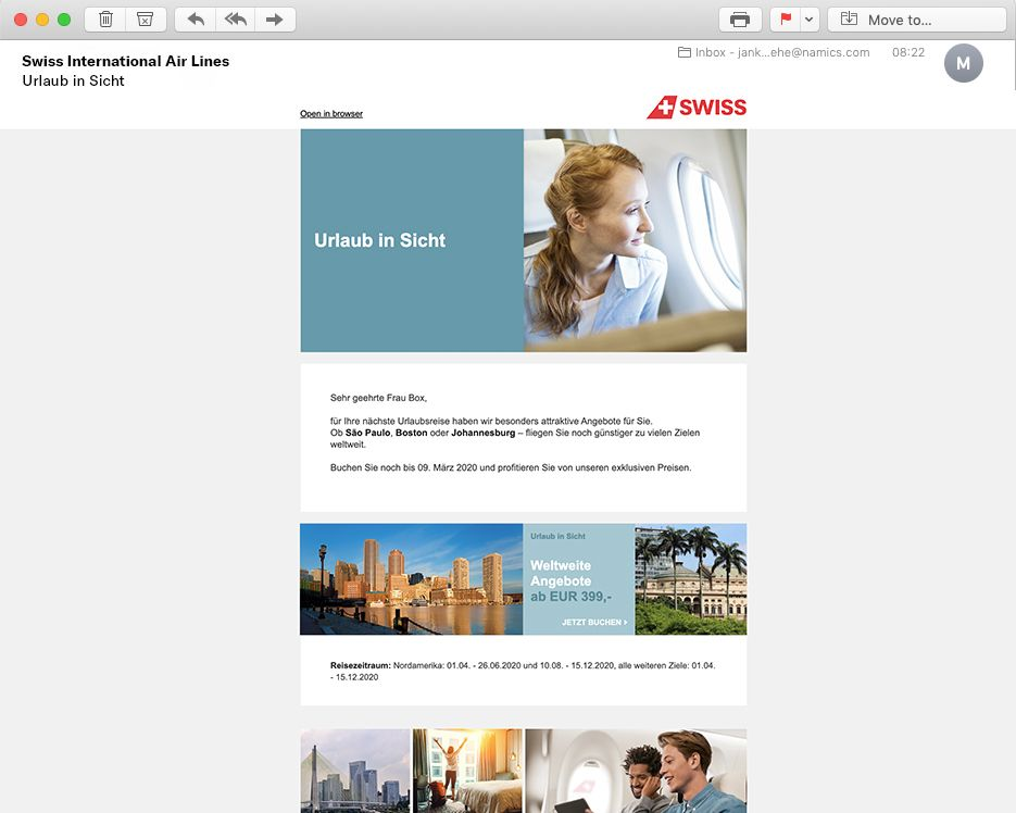 Newsletter Swiss airlines