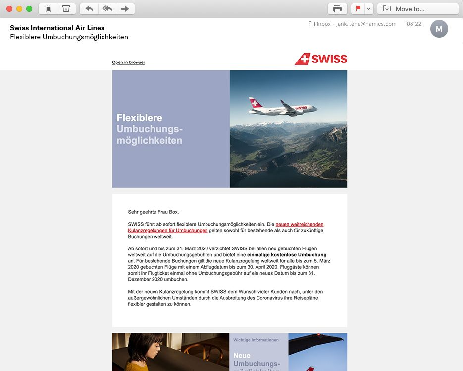 Swiss Airlines Newsletter